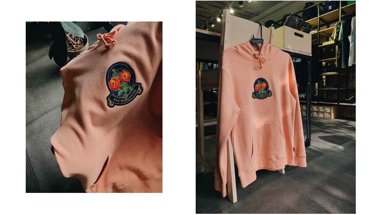 HUF Tendreloin Rose Crest P/o Hoodie Coral Pink
